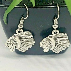 Native First American Chief Silver Earrings Dangle
